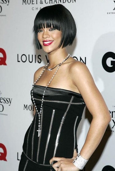 Rihanna black bob hairstyle