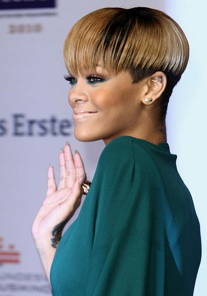 Rihanna bowl haircut
