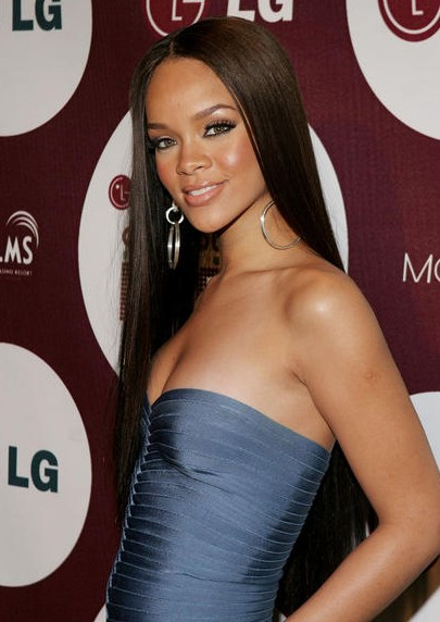 Rihanna long sleek sedu hairstyle