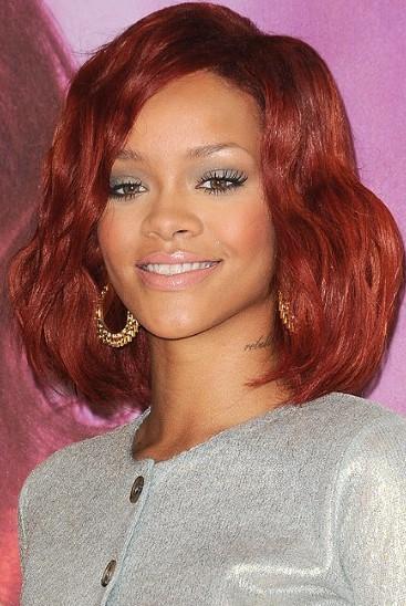 Rihanna Red Long Bob Hairstyles Weekly