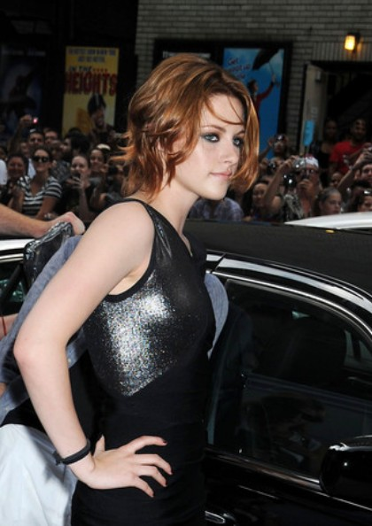 Kristen Stewart Auburn Choppy Messy Updo Hairstyles Weekly