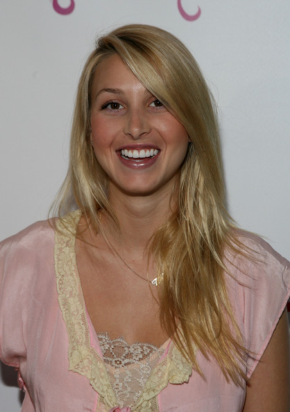 Blonde Long Straight Haircut with Layered Hair with Side Bangs for Women from Whitney Port
