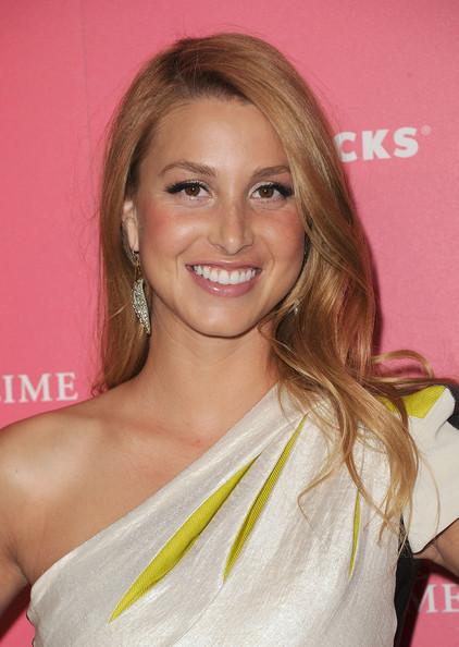 Simply Long Hairstyle with Blonde Hair Color and Side Bangs Hair for Women from Whitney Port