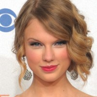 Celebrity Side Swept Curly Updos