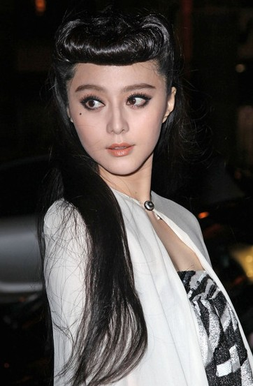 Fan Bingbing Long Black Retro Hairdo