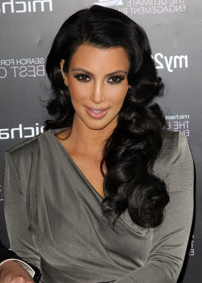 Kim Kardashian Long Black Retro Hairstyle