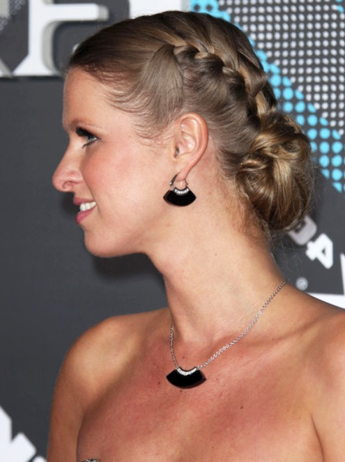 Nicky Hilton Braided Bun Updo