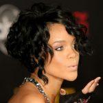 Rihanna Black Curly Bob Hairstyle