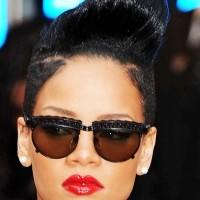 Rihanna Black Pompadour Hairstyle