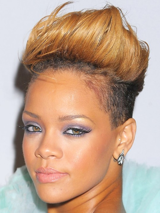 Prime Rihanna Latest Short Haircut Fauxhawk Hairstyle Hairstyles Weekly Short Hairstyles Gunalazisus