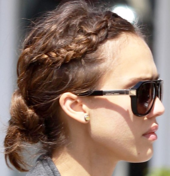 Jessica Alba Cute Braided Bun Hairstyle 2013