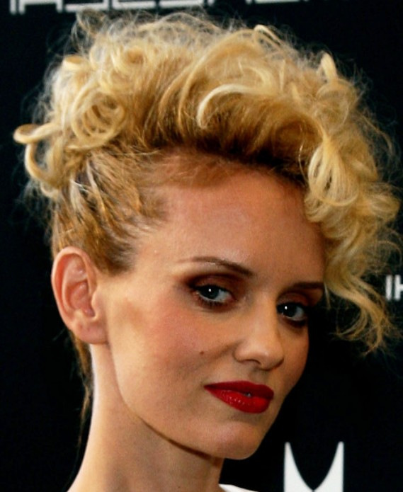 Celebrity Short Curly Faux Hawk Hairstyle