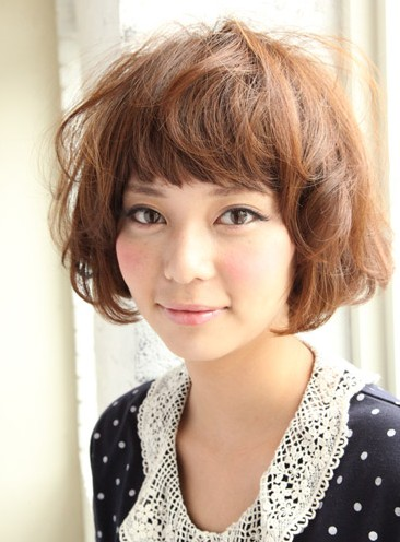 Short Curly Japanese Hairstyle for women