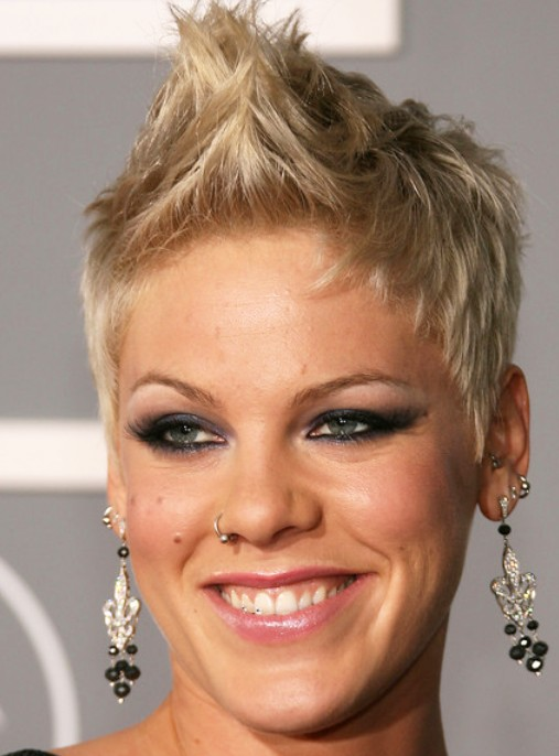 Cool stylish short haircut from women: Pink Fauxhawk