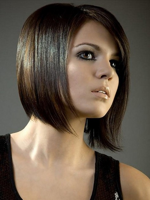 Trendy short red bob haircut with blunt bangs
