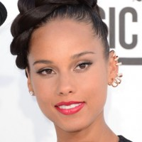 Alicia Keys Large Glossy Braid Updo 2013