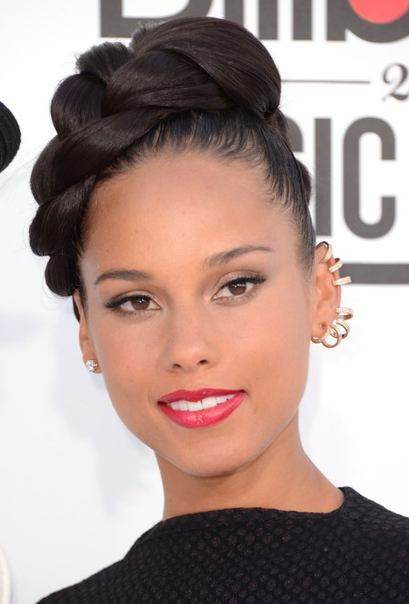 Alicia Keys Large Glossy Braid Updo 2013