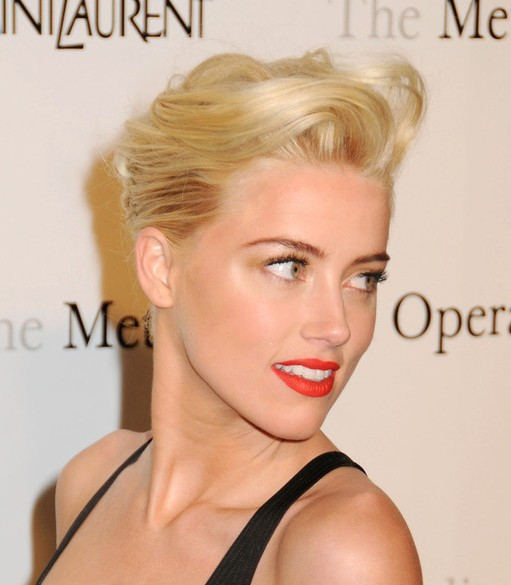 Amber Heard Blonde French Twist Updo For Short Hair Hairstyles Weekly