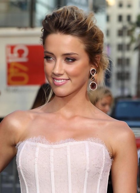 Amber Heard Messy French Twist Updo