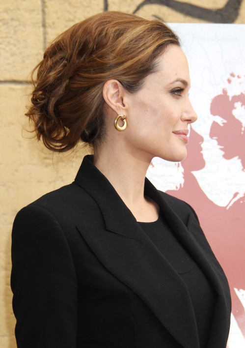 Side View of Angelina Jolie Textured Messy Updo