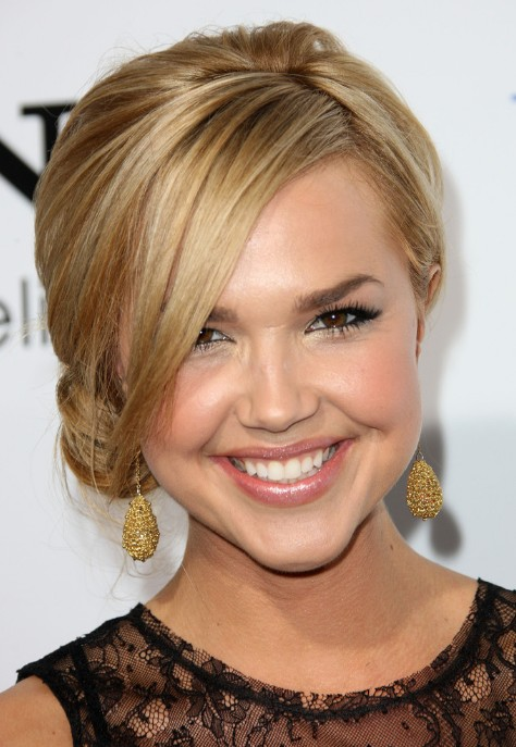 Arielle Kebbel Cute Loose Side Bun with Long Bangs
