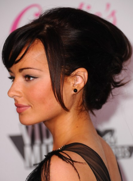 Ashley Rickards Messy Updo Hairstyle with Side Bangs