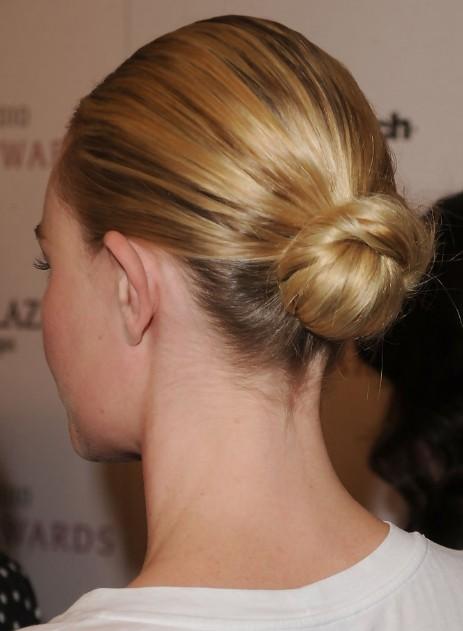 Back View Of Sleek Bun Updo Hairstyle Hairstyles Weekly
