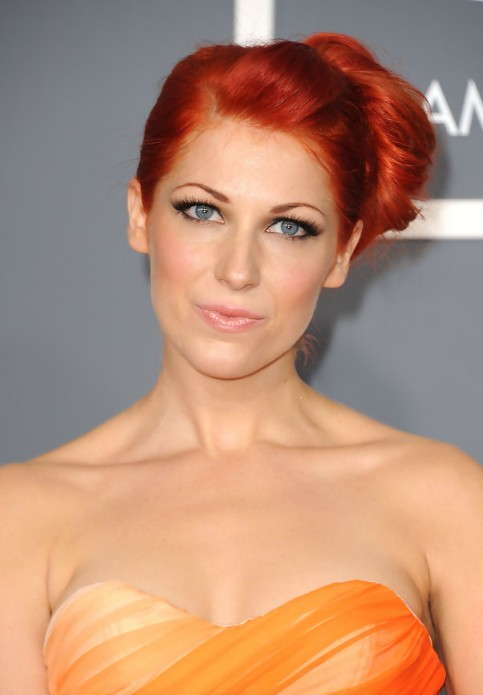 Bonnie McKee Sleek Red Side Bun Updo 2013