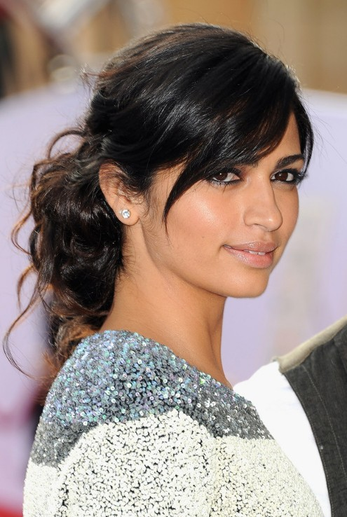 Easy Black Updo with Side Swept Bangs for Long Hair from Camila Alves