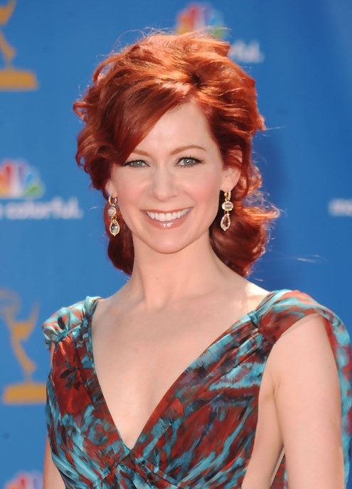 Carrie Preston Messy Red Hairstyle For Women Over 40 Hairstyles Weekly