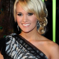 Prom Hairstyles: Carrie Underwood Elegant Blonde Updo With Side Bangs
