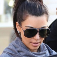 Casual Ponytail Hairstyle from Kim Kardashian