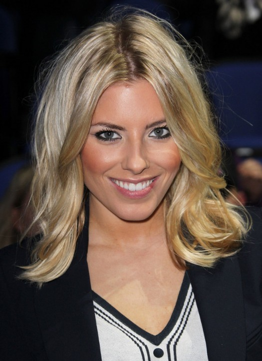 Celebrity Mollie King with Medium Blonde Wavy Hairstyle