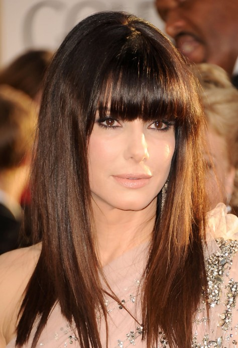 2013 Celebrity long sleek hairstyle with blunt bangs