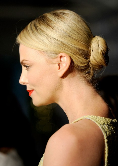 Pleasant Charlize Theron Sleek Low Bun Updo For Long Hair Hairstyles Weekly Hairstyle Inspiration Daily Dogsangcom
