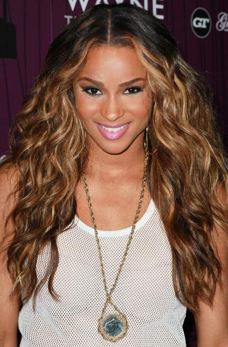 Ciara Sexy Long Ombre Hair – Center Part Long Wavy Hairstyle