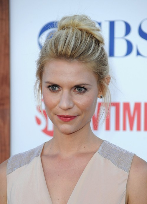 Claire Danes Casual Loose High Bun Updo Hairstyles Weekly