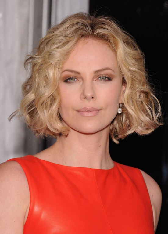 Jaw length curly bob haircut