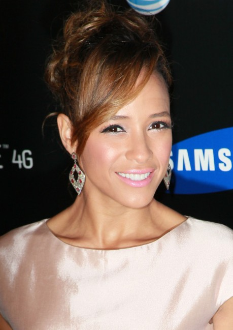 Dania Ramirez Hairstyles: Loose Bun Updo With Side Swept Bangs