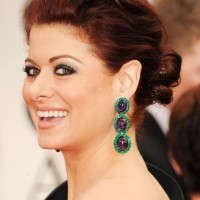 Debra Messing Red Loose LowBun Updo 2013, 2014