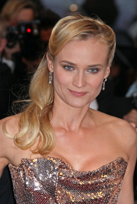 Celebrity Diane Kruger Half Up Half Down Hairstyle