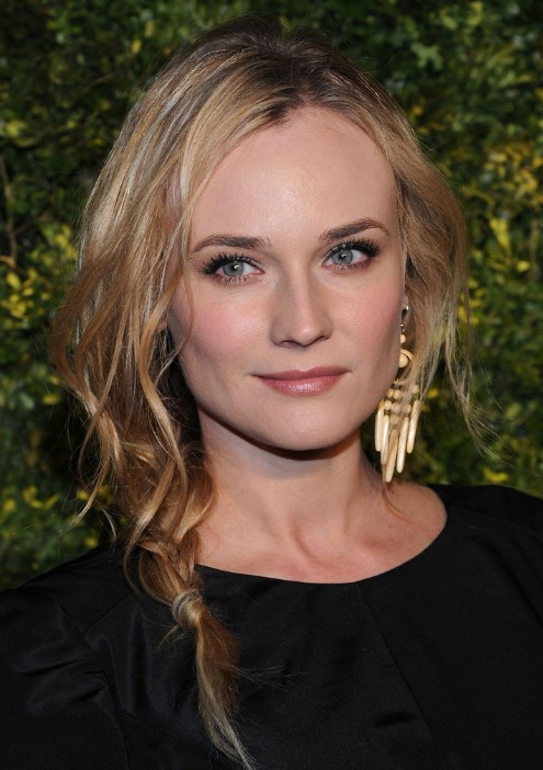 Groovy Diane Kruger Textured Side Braid For Long Hair Hairstyles Weekly Short Hairstyles For Black Women Fulllsitofus