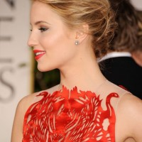 Dianna Agron Bobby Pinned Messy Updo 2013