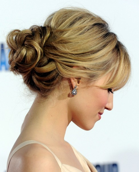 Dianna Agron Romantic Loose Low Bun Updo for Wedding