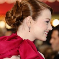 Emma Stone Casual Sleek Updo Hairstyle