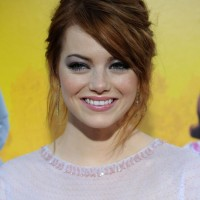 Emma Stone Chic Messy Updo Hair Style 2013