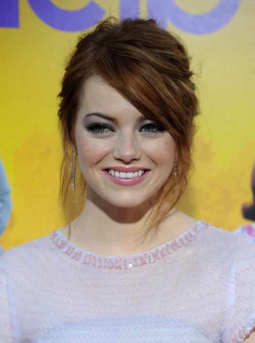 Emma Stone Chic Messy Updo Hair Style with Side Swept Bangs