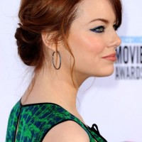 2013 Romantic Red Twisted Updo with Pretty Loose Tendrils for Prom
