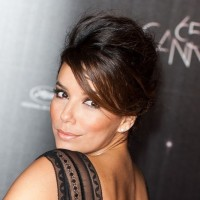 Eva Longoria Sext French Twist Updo with Side Swept Bangs