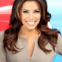 Eva Longoria Center Part Long Wavy Hairstyle